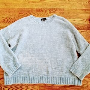 Powder Blue Chenille Chunky Knit Sweater